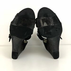 Frye Shoes - NWOT Frye Rain Strappy Black Leather Wedge Sandals